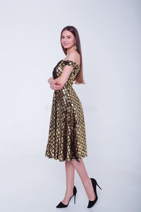 Femme mod?le de brune de beaut? dans la robe de cocktail Maquillage de luxe et coiffure de belle mode Silhouette s?duisante de fi image stock