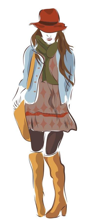 Femme moderne de ville dans des vêtements de mode illustration de vecteur