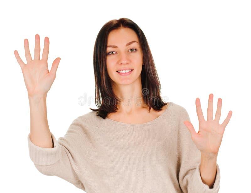 Femme montrant dix doigts photos stock
