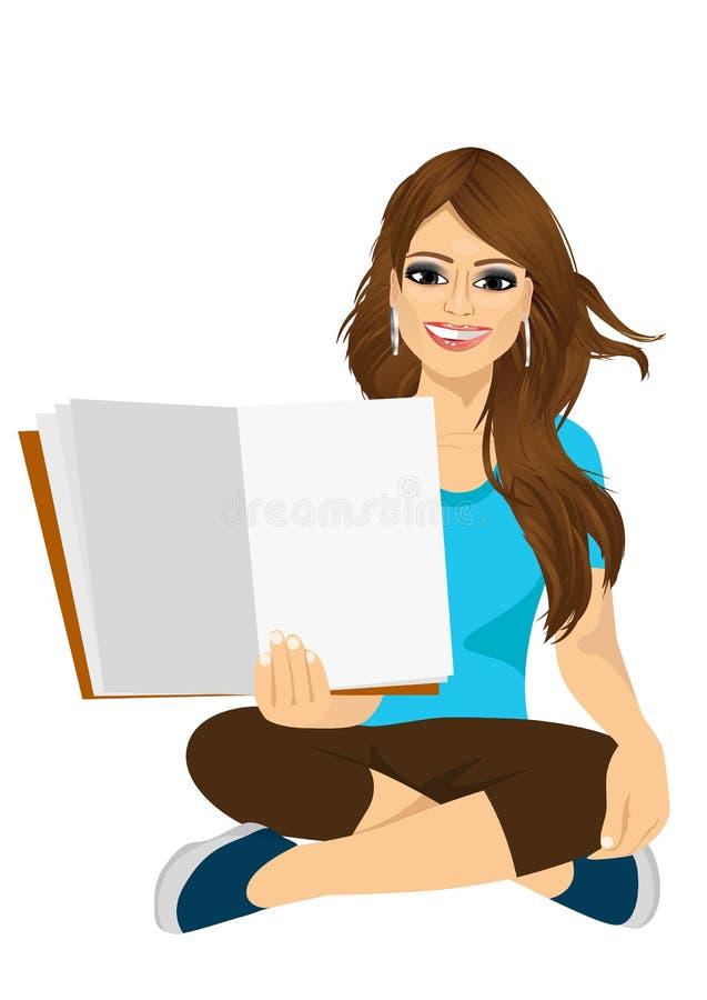 Femme montrant les pages ouvertes de son livre illustration stock