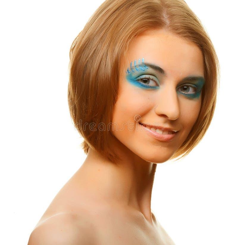 Femme multicolore de maquillage de créativité photographie stock