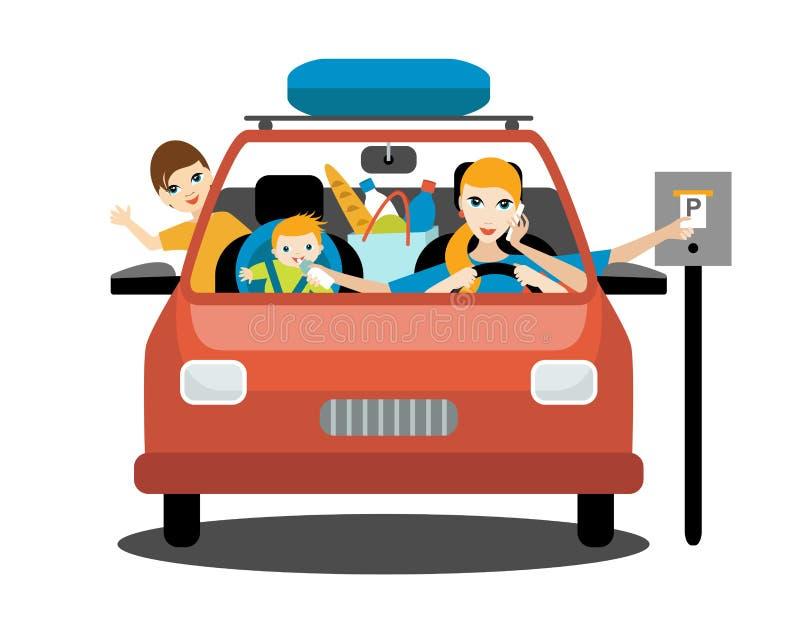 Femme multitâche, mère conduisant la voiture avec un bébé affamé, un fils plus âgé, parlant un téléphone illustration de vecteur