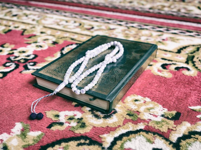 Femme musulmane avec la robe entièrement traditionnelle priant pour Allah photo libre de droits