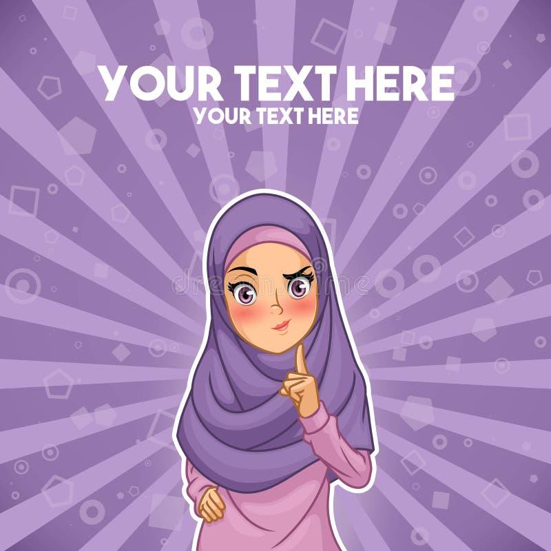 Femme musulmane avec une main augmentée avec le doigt  illustration stock