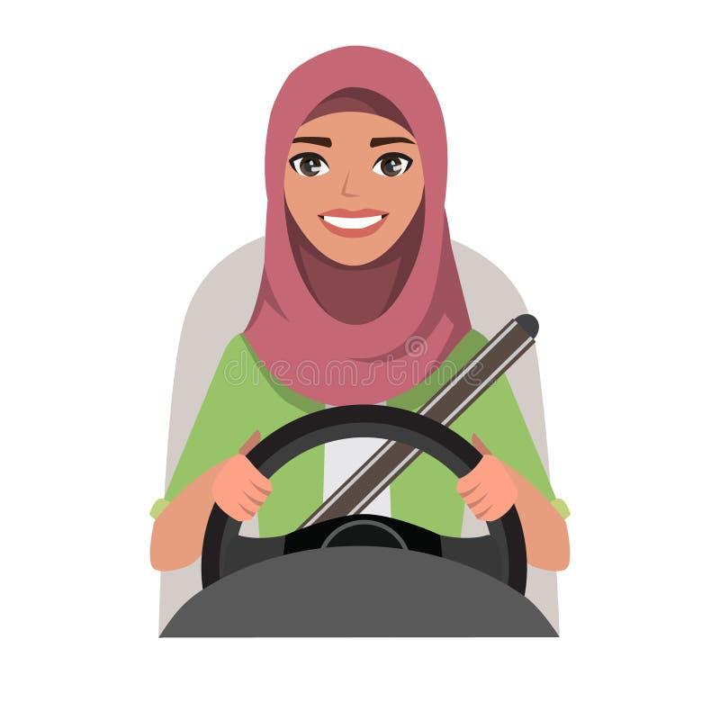 Femme musulmane conduisant une voiture Femme musulmane s'usant Hijab illustration de vecteur
