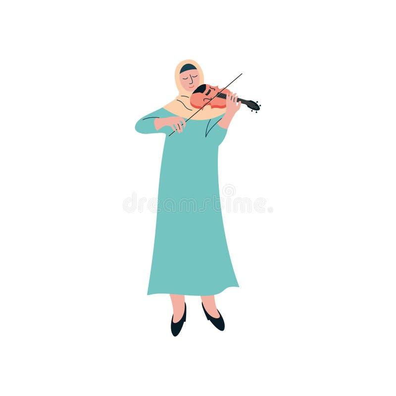 Femme musulmane dans Hijab jouant le violon, musicien arabe féminin Character dans l'illustration traditionnelle de vecteur d'hab illustration libre de droits