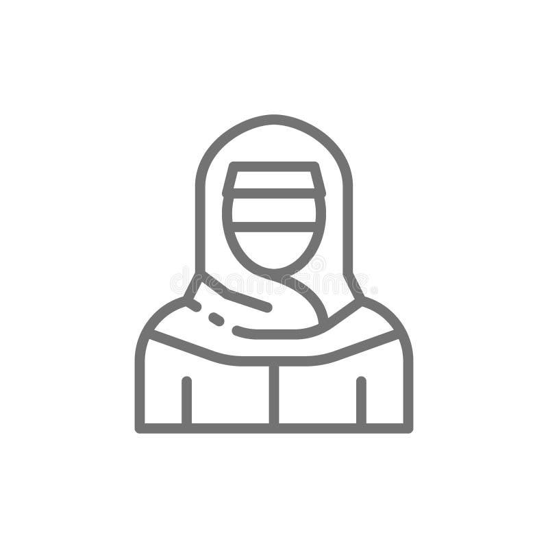 Femme musulmane dans le niqab, ligne arabe traditionnelle icône de robe illustration libre de droits