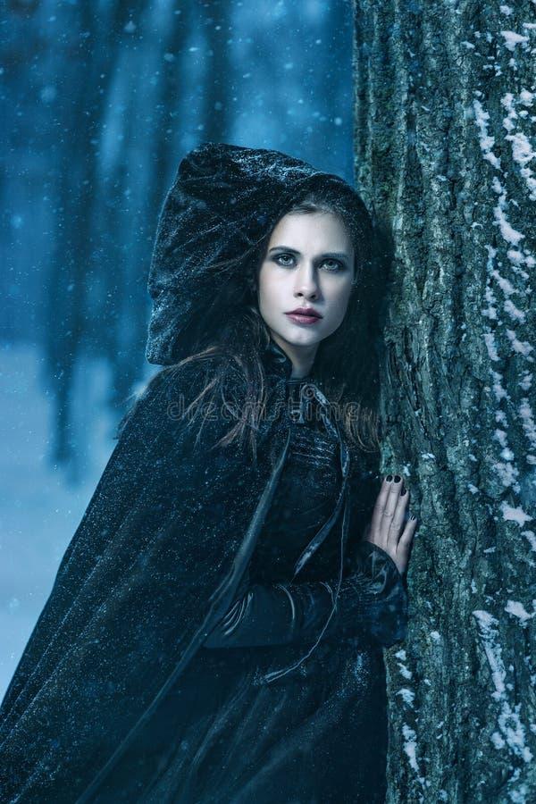 Femme mystérieuse dans le noir photos stock