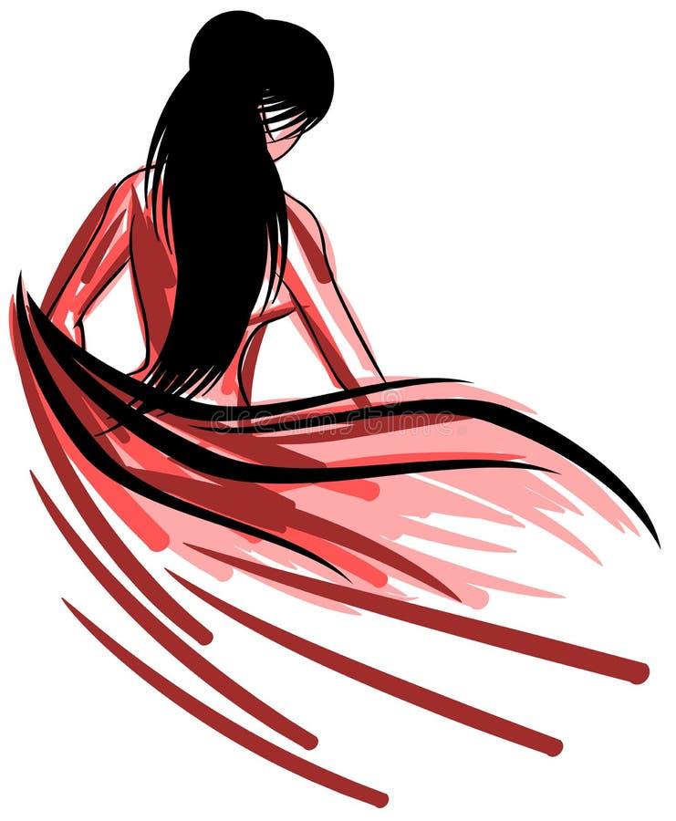 femme nue artistique avec la serviette illustration de vecteur illustration du retrait mode. Black Bedroom Furniture Sets. Home Design Ideas