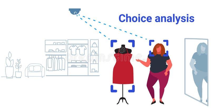 Femme obèse choisissant la sécurité intérieure de reconnaissance d'identification de client de magasin d'habillement de robe  illustration de vecteur