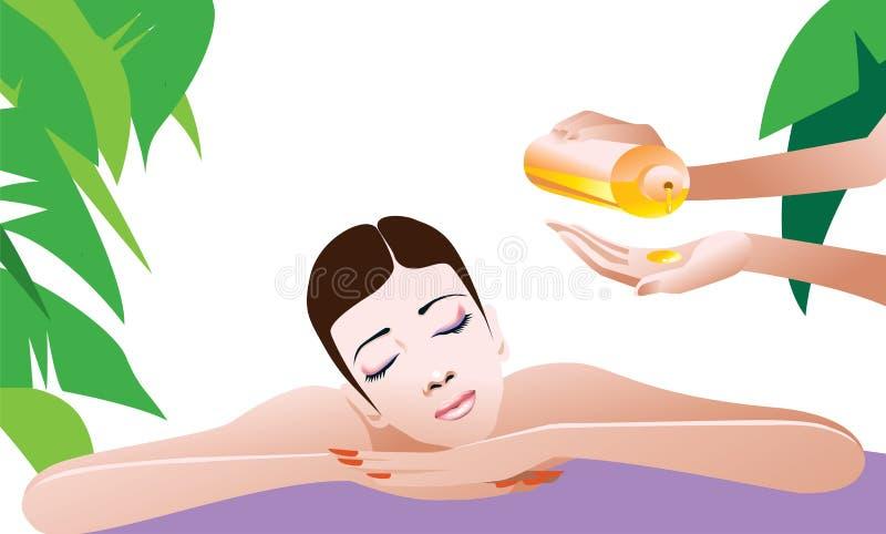 Femme obtenant le massage illustration libre de droits