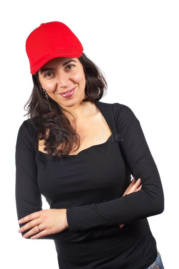 Femme occasionnel avec un capuchon rouge photos stock