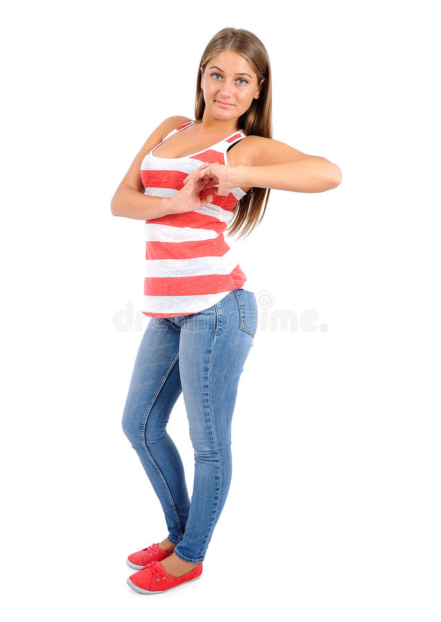 Femme occasionnelle d'isolement photos stock