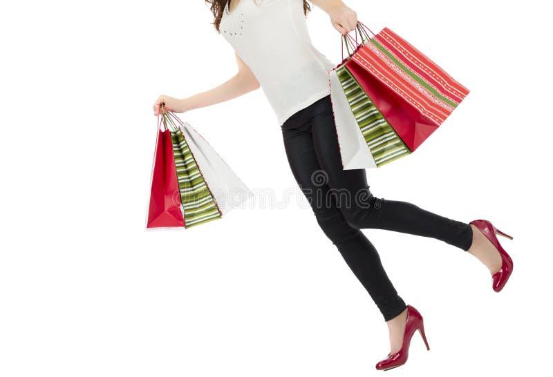 Femme occupée d'achats image stock