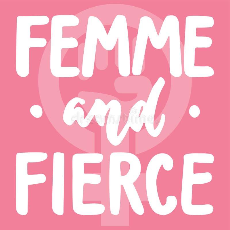 Femme och våldsamt - räcka det utdragna bokstäveruttrycket om kvinnan, flickan, kvinnlign, feminism på den rosa bakgrunden Roligt stock illustrationer