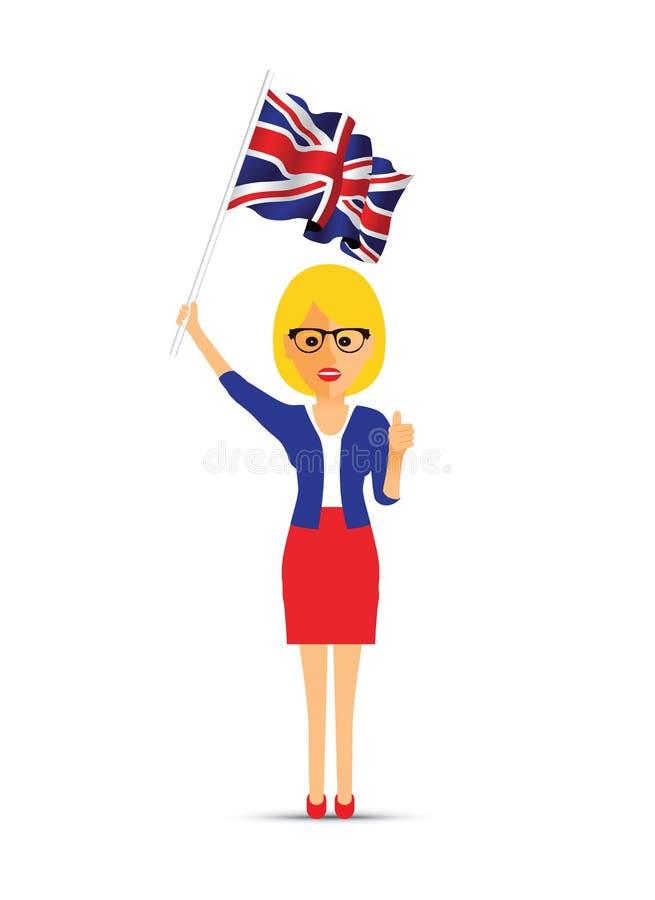 Femme ondulant le drapeau britannique illustration stock