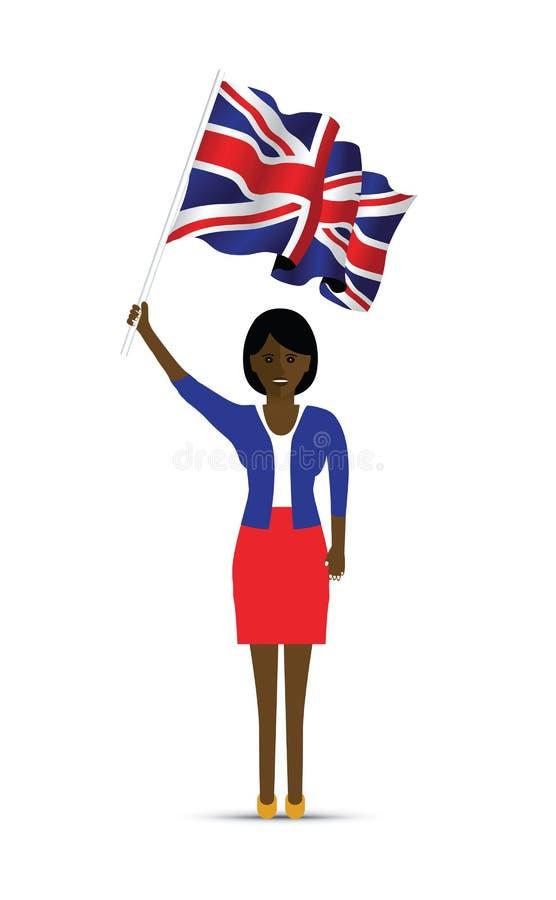 Femme ondulant le drapeau britannique illustration libre de droits