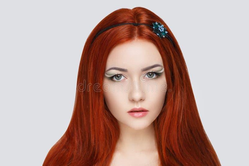 Femme orange de cheveux photo libre de droits