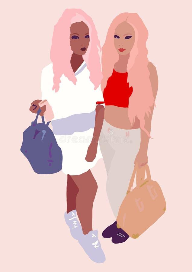 Femme ou fille asiatique ou africaine avec l'illustration brune de peau illustration libre de droits