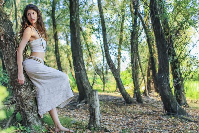 Femme païenne se reposant contre le saule dans la forêt image libre de droits