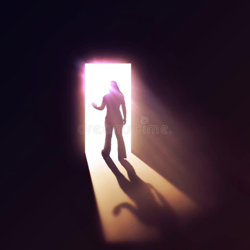 Femme par la porte. photographie stock libre de droits