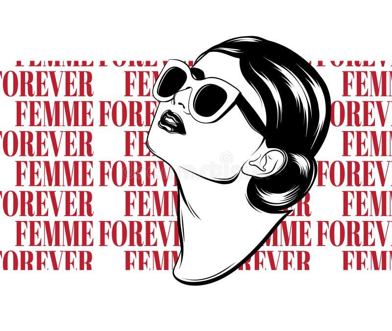 Femme para siempre Vector el cartel dibujado mano con el ejemplo realista de la chica joven stock de ilustración