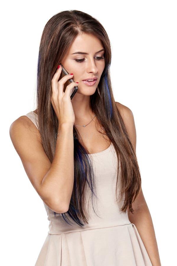 Femme parlant sur le téléphone portable photos stock