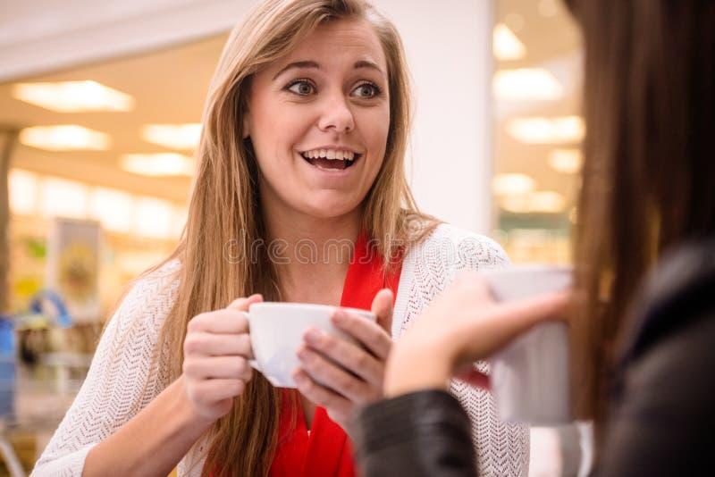 Femme parlant tout en ayant le café image libre de droits