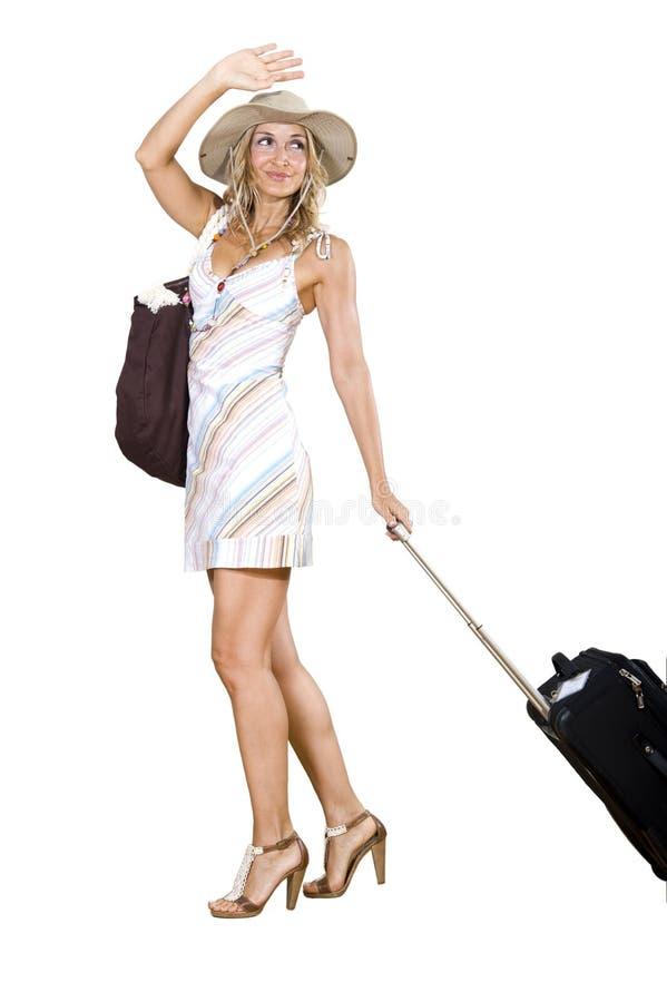 Femme partant en vacances image stock