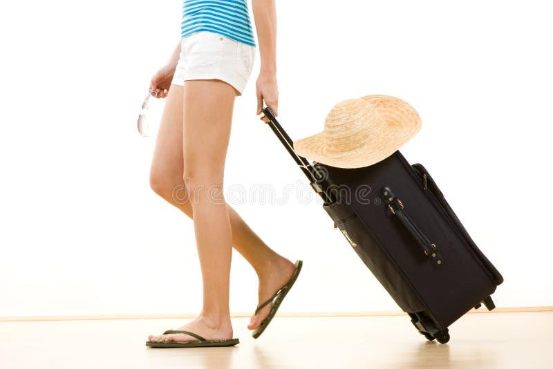 Femme partant en vacances photographie stock