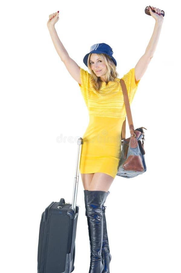 Femme partant en vacances photo stock