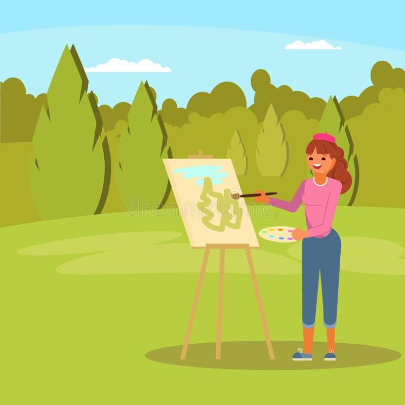 Femme peignant l'illustration plate de vecteur vert de parc illustration stock