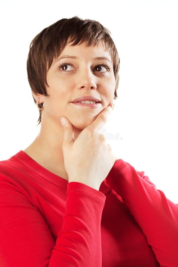 Femme pensant photographie stock