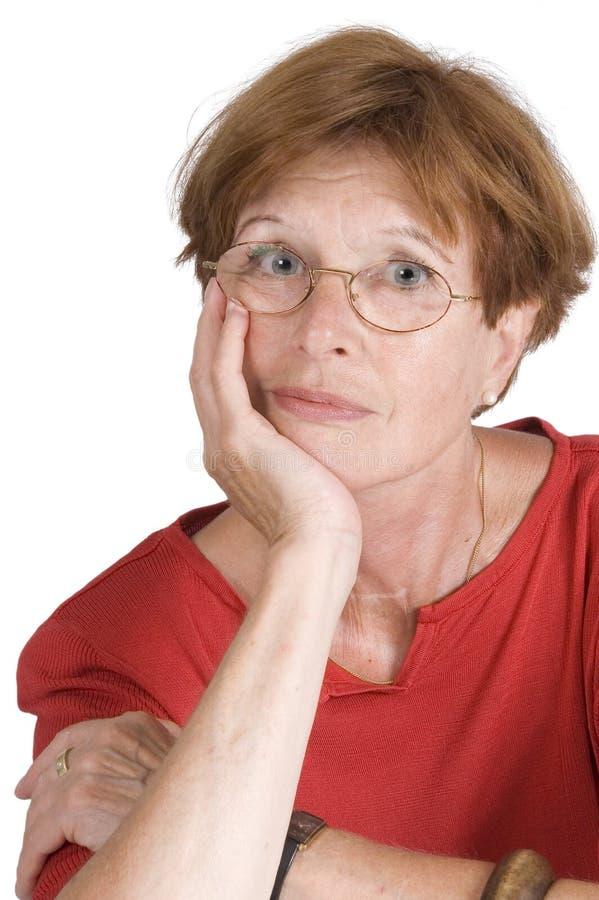 femme pensante mûre photo libre de droits