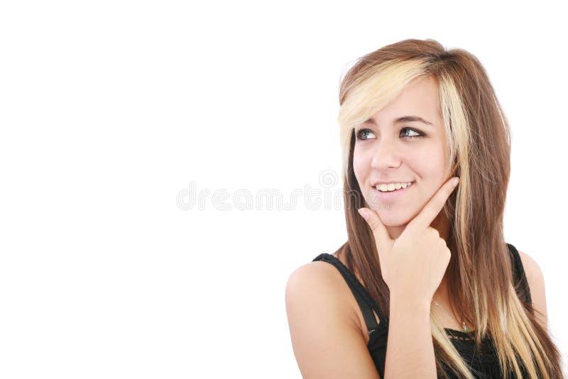 Femme pensante recherchant images stock