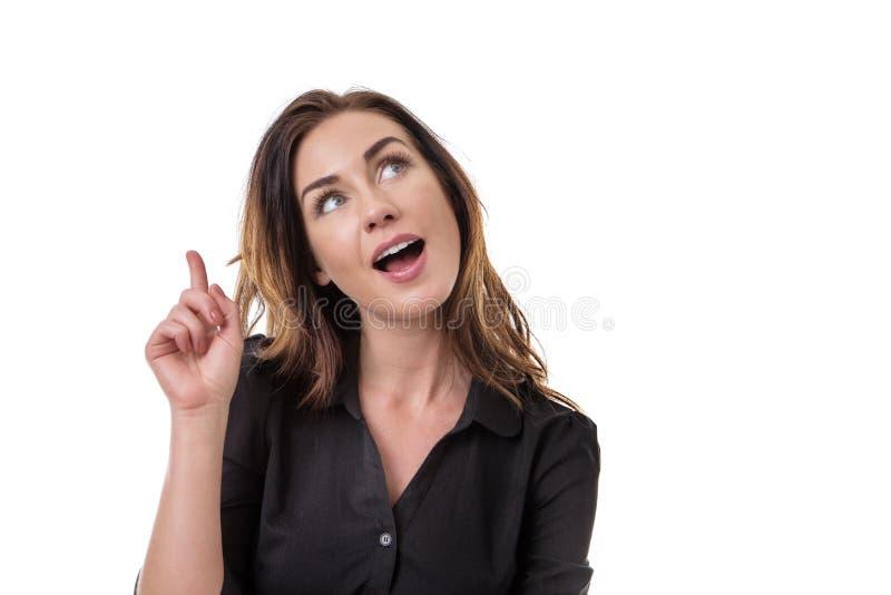 Femme pensante recherchant photo stock