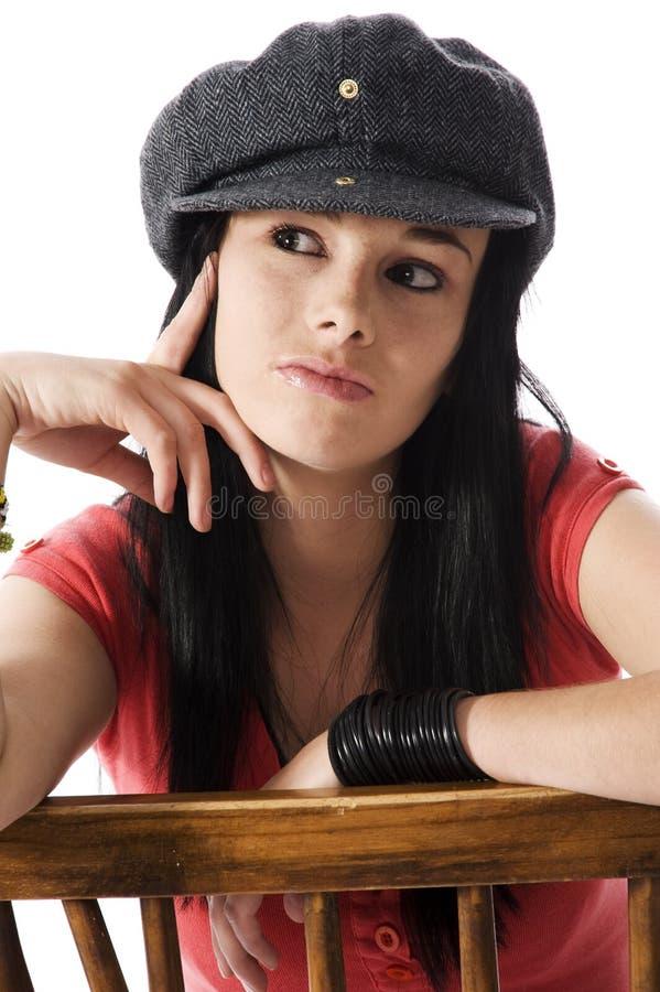 Femme pensif image stock