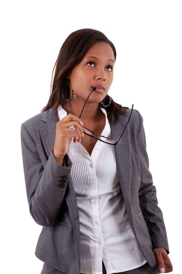 Femme pensive d'affaires d'afro-américain images libres de droits