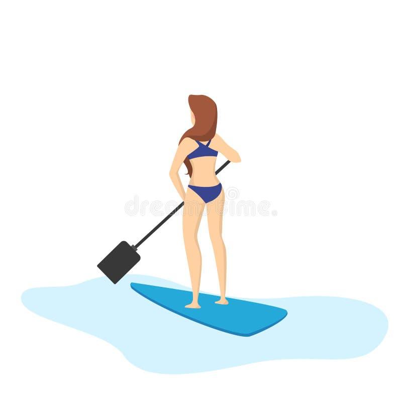 femme Petite gorgée-surfante Activité de mer ou d'océan Position de fille illustration libre de droits