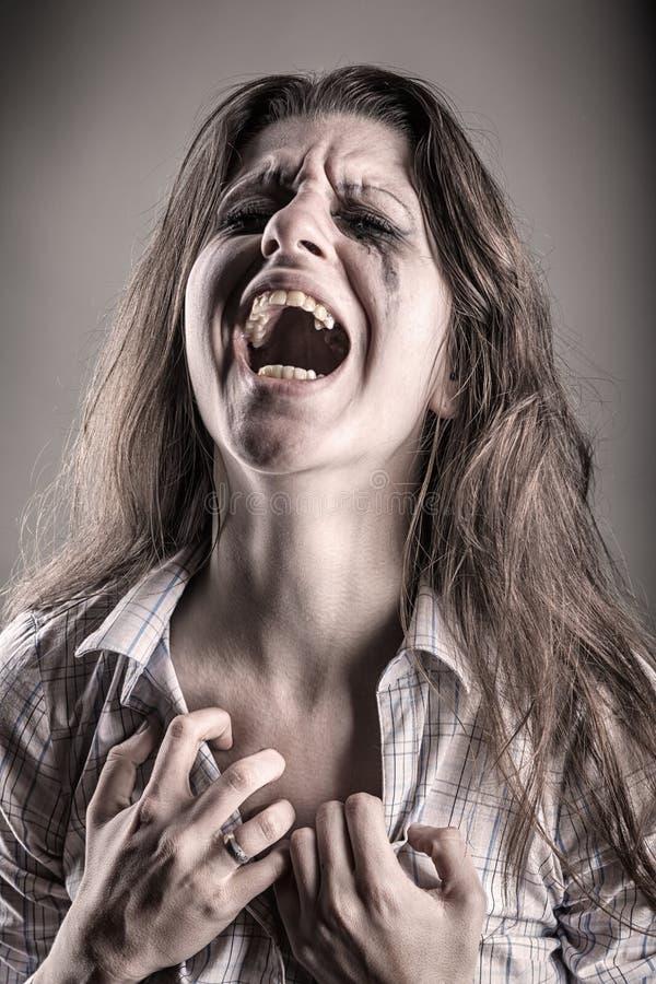 Femme pleurante photo stock