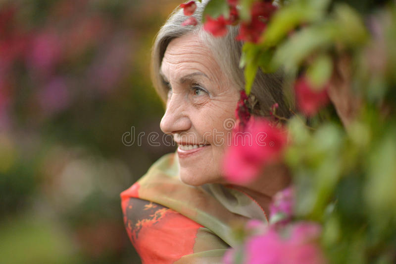 Femme plus âgée heureuse images stock