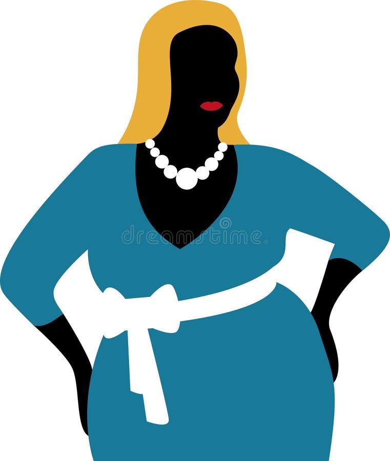 Femme plus de taille dans la robe bleue illustration stock