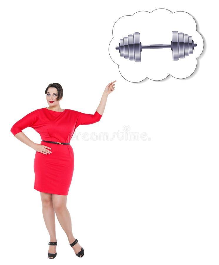 Femme plus de taille montrant sur la bannière avec l'haltère image stock