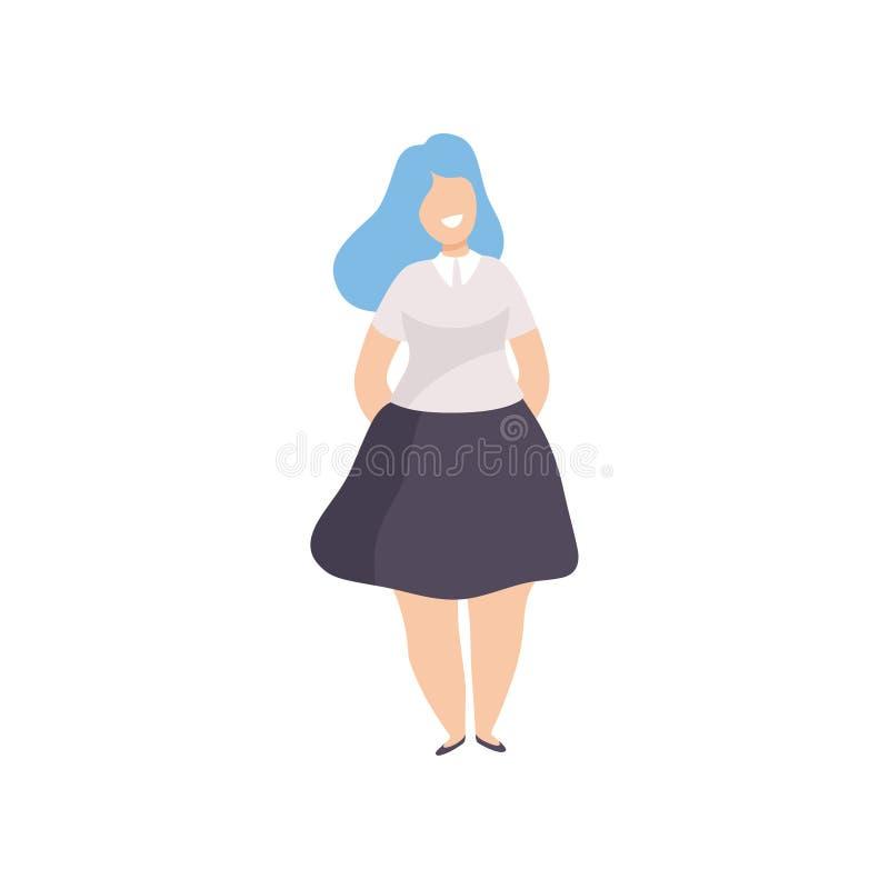 Femme, positif de corps, acceptation d'individu et illustration dodus heureux de vecteur de concept de diversité de beauté illustration stock