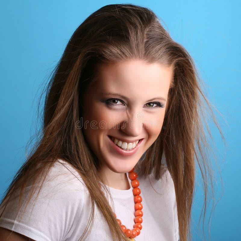 femme positive bleue image stock