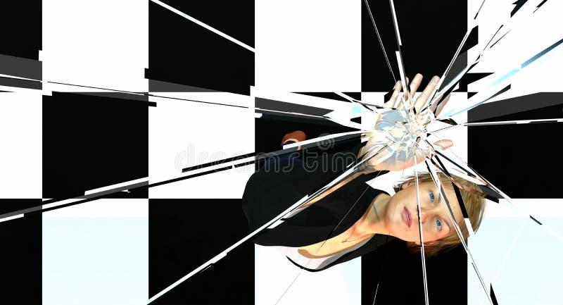 Femme poussant sur le plafond en verre illustration stock