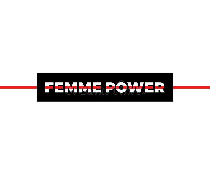 Femme Power slogan, modernt diagram med svarta och röda horisontallinjer Modevektordesign för t-skjorta Utslagsplatstryck royaltyfri illustrationer