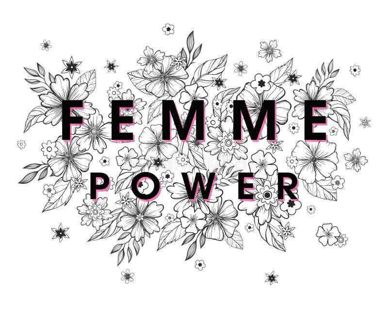 Femme Power - stilfullt tryck för t-skjortor, affischer, kort och tryck royaltyfri illustrationer