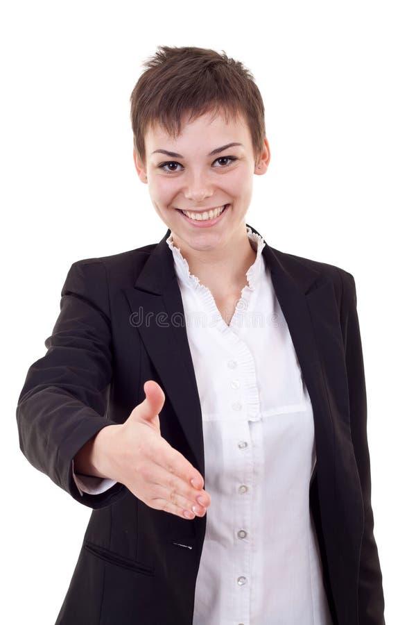 Femme prêt à la prise de contact photographie stock