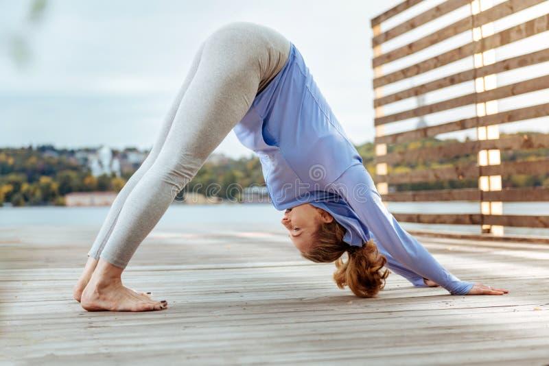 Femme pratiquant concentratedly la pose orientée vers le bas de yoga de chien image libre de droits